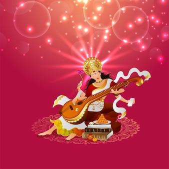 Ilustração criativa da deusa saraswati