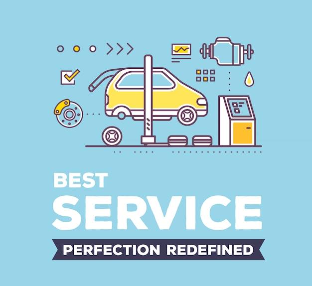 Ilustração criativa da oficina de serviço de carro em fundo azul com cabeçalho e linha auto acessórios.