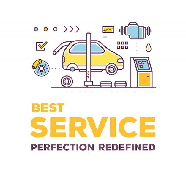Ilustração criativa da oficina de serviço de carro em fundo branco com cabeçalho e linha auto acessórios.