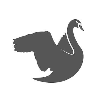 Ilustração criativa da silhueta de cisne