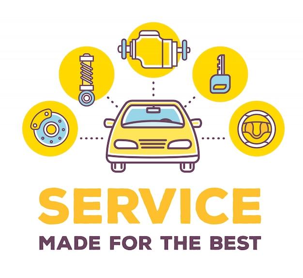 Ilustração criativa de carro vista frontal em fundo branco com palavra cabeçalho e linha auto acessórios.