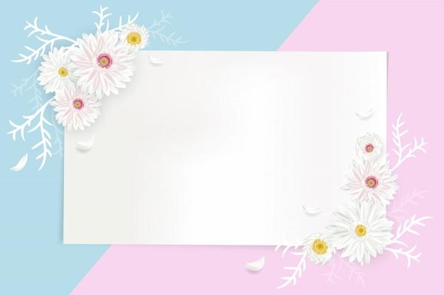 Ilustração criativa de cartão com forma geométrica para texto decorado com flores desabrochando