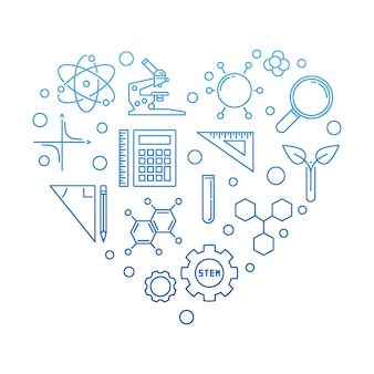 Ilustração criativa de ciência, tecnologia, engenharia e matemática