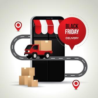 Ilustração criativa de compras e entregas online da black friday