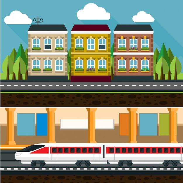 Ilustração criativa de conceito plana de metrô