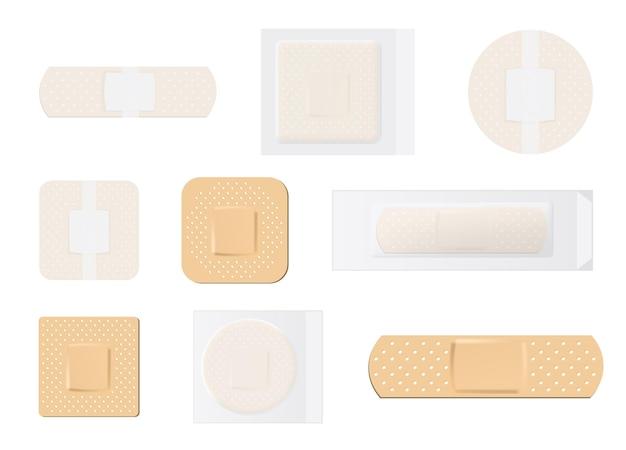 Ilustração criativa de conjunto de curativos médicos elásticos para bandagem adesiva