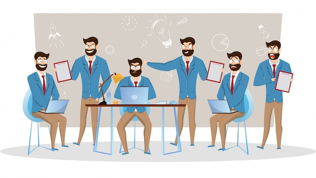 Ilustração criativa de empresários em poses diferentes