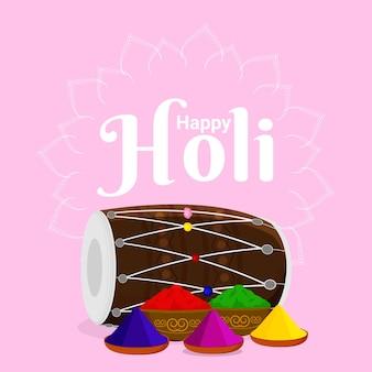 Ilustração criativa de feliz holi com tigela colorida e arma colorida
