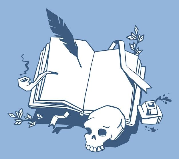 Ilustração criativa de livro de abertura de cor branca com marcador, pena de pássaro, tinteiro, cachimbo de fumar, crânio humano sobre fundo azul.