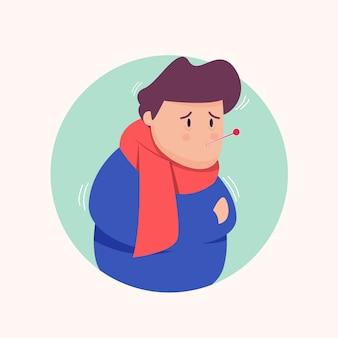 Ilustração criativa de menino com um resfriado