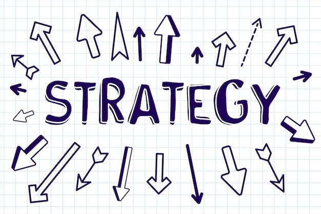 Ilustração criativa de negócios com estratégia de palavras e setas diferentes