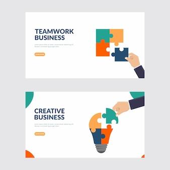 Ilustração criativa de negócios e trabalho em equipe