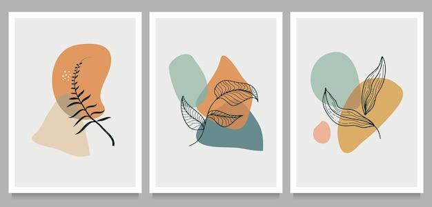 Ilustração criativa de pintados à mão minimalista. botânico com forma abstrata para decoração de arte de parede.