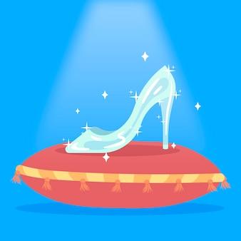 Ilustração criativa de sapato de vidro de conto de fadas