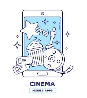 Ilustração criativa de telefone celular com pipoca