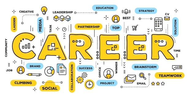 Ilustração criativa de tipografia de palavra amarela de carreira com ícones de linha e nuvem de etiquetas