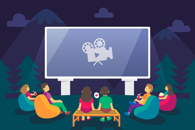 Ilustração criativa de um cinema ao ar livre