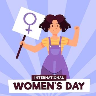 Ilustração criativa desenhada do dia internacional da mulher