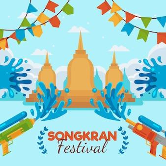Ilustração criativa design plano de songkran