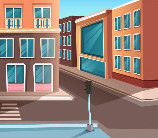 Ilustração criativa detalhada. estrada e loja, construção e outros elementos da rua.
