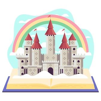 Ilustração criativa do conceito de conto de fadas com castelo