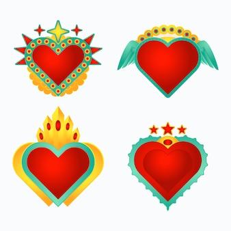 Ilustração criativa do conjunto coração sagrado