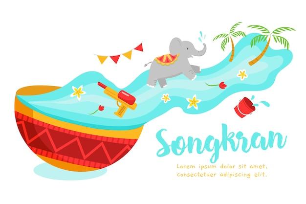 Ilustração criativa do evento songkran