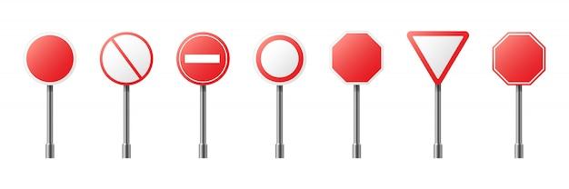 Ilustração criativa do sinal de aviso de estrada isolado. modelo regulamentar de tráfego em branco realista de arte design. elemento abstrato gráfico banners vazios