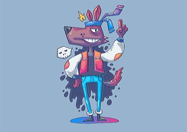 Ilustração criativa dos desenhos animados. hipster de lobo engraçado em roupas da moda.