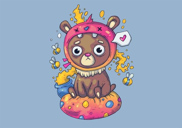 Ilustração criativa dos desenhos animados. urso temperamental com um pote de mel.