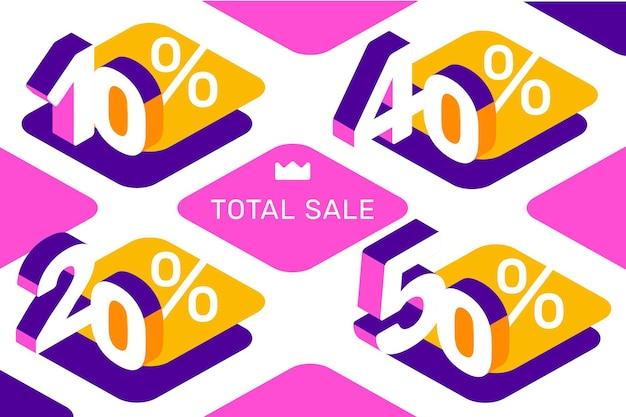 Ilustração criativa em vetor de porcentagem de número isométrico de venda diferente sobre fundo de cor branca. design de estilo 3d para web, site, banner de venda, apresentação