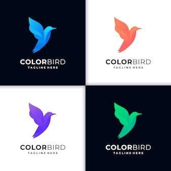 Ilustração criativa gradiente do logotipo do beija-flor