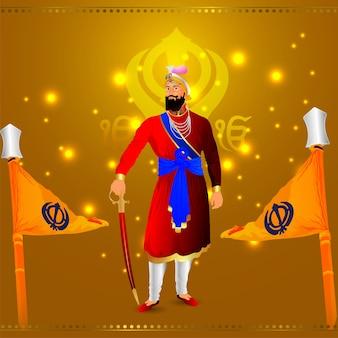 Ilustração criativa para a feliz celebração do guru gobind singh jayanti