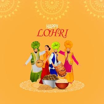Ilustração criativa para a feliz celebração do lohri