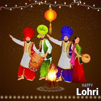 Ilustração criativa para feliz celebração de lohri e plano de fundo
