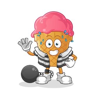 Ilustração criminal de sorvete