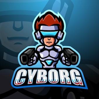 Ilustração cyborg mascote esport