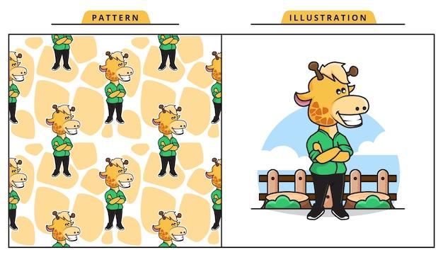 Ilustração da adorável girafa em pose legal com padrão decorativo sem costura