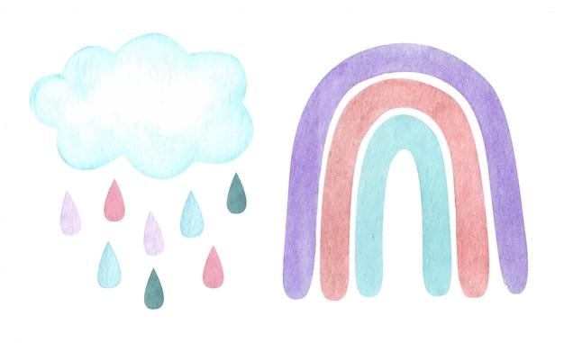 Ilustração da aguarela com arco-íris neutro carm na moda, nuvens, pingos de chuva isolados no branco. chá de bebê, decoração de berçário.