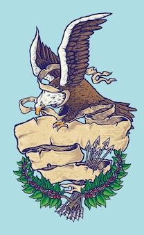 Ilustração da águia americana patriótica