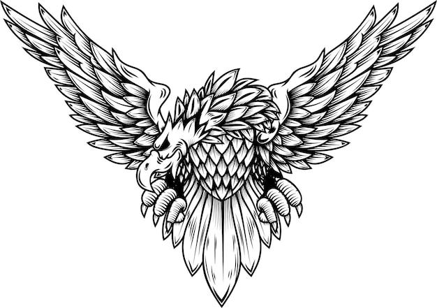 Ilustração da águia isolada no fundo branco. elemento de design para cartaz, cartão, banner, camiseta, emblema, sinal. ilustração vetorial
