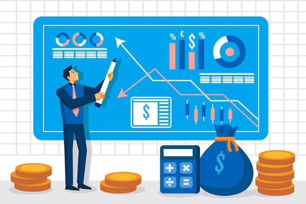 Ilustração da análise do mercado de ações