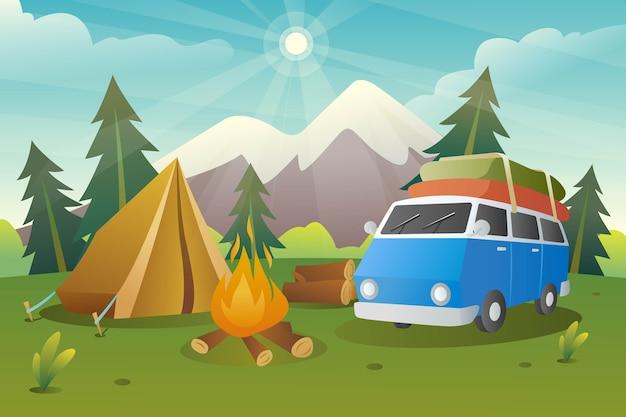 Ilustração da área e equipamentos do acampamento de verão
