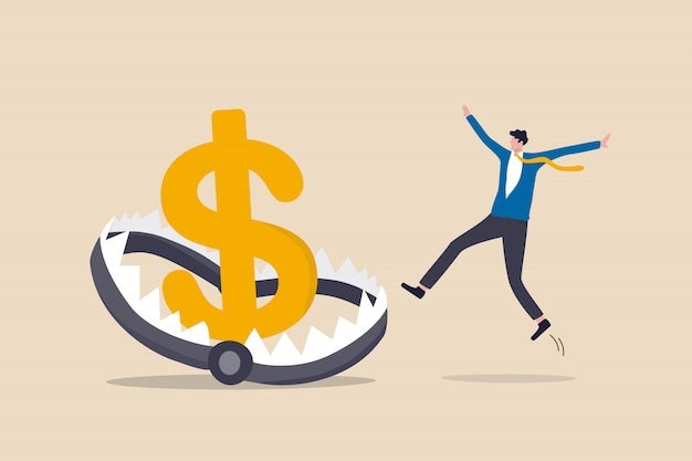 Ilustração da armadilha de dinheiro financeiro