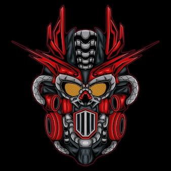 Ilustração da armadura do robô soldado mecha