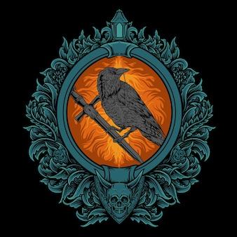 Ilustração da arte da águia com estilo de gravura