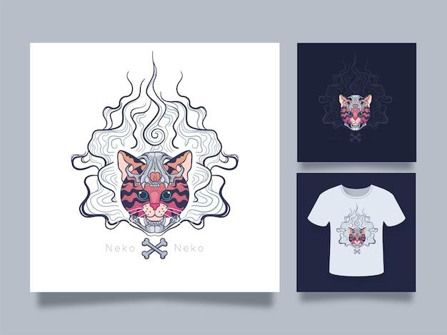 Ilustração da arte da cabeça do gato com máscara do crânio para o design de adesivos e roupas