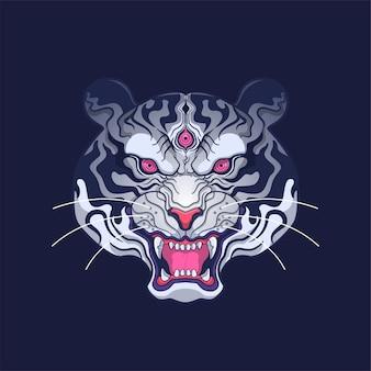 Ilustração da arte da cabeça do tigre branco siberiano