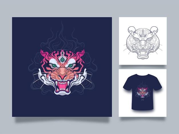 Ilustração da arte da cabeça do tigre com estilo japonês