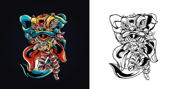Ilustração da arte da dança do leão para pessoas